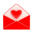 Love letter emblem as red envelope with heart — Stock Photo