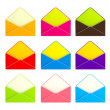 Set of nine colorful envelopes isolated — Stock Photo