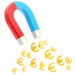 Symbolic horseshoe magnet attracting euro signs - Stock Photo
