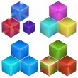 Set of four colorful abstract cube compositions — Stock Photo