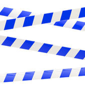 Set of blue and white glossy barrier tapes — Stock Photo