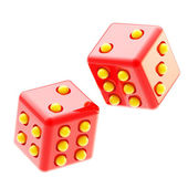 Playing red and yellow glossy dices isolated — Stockfoto