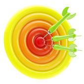 Aim and bull's-eye: darts thrown to exact center — Stock Photo