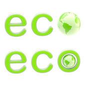 Ecología eco emblema letrero con un planeta aislado — Foto de Stock