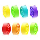 Sekiz parlak bir sakız gibi izole twirls kümesi — Stok fotoğraf