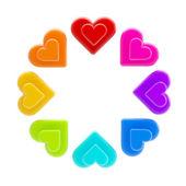 Circle made of rainbow coloured hearts isolated — Stock Photo