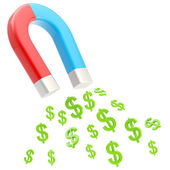 Symbolic horseshoe magnet attracting dollar signs — Stock Photo