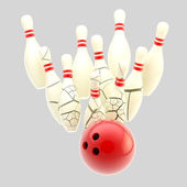Bowling ball smashing to cracking pins isolated — Stockfoto
