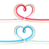Two abstract heart symbol made of ribbon isolated — Stock Photo