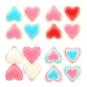 Set of colorful glossy plastic hearts isolated — Stock Photo