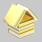 Kitapçı amblemi olarak kitaplarının yapılmış bir ev — Stok fotoğraf