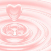 Heart shaped liquid drop in a waves — Stock Photo