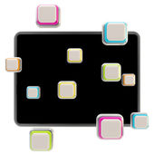 Application icons surround pad flat srceen — Stockfoto