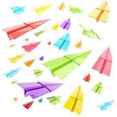 Kleurrijke glanzend papier vliegtuigen geïsoleerd — Stockfoto