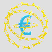 Euro sign encircled with golden chains isolated — Stock Photo