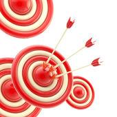 Frecce al centro del bersaglio rosso — Foto Stock