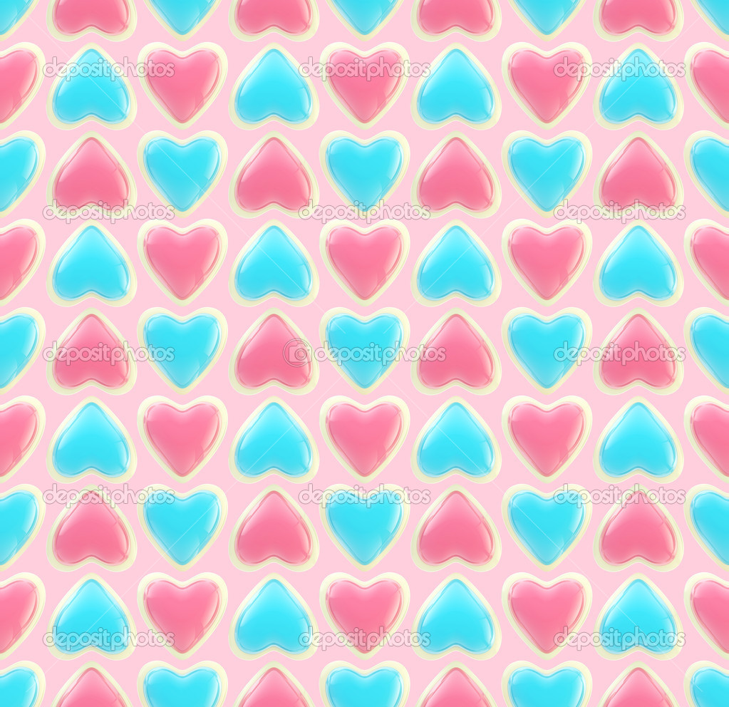 Seamless background texture made of bright glossy love hearts — Foto de Stock   #8931833