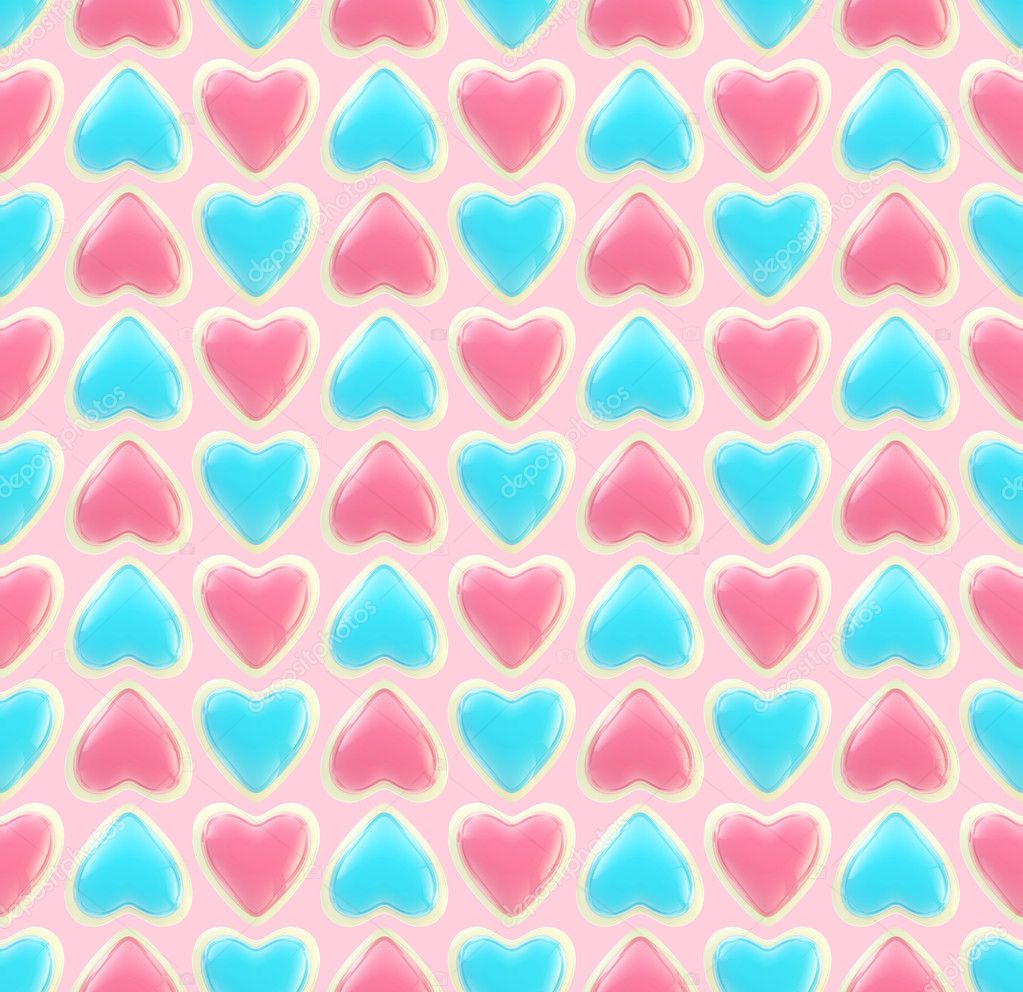 Seamless background texture made of bright glossy love hearts — Zdjęcie stockowe #8931833