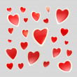 Backdrop made of glossy hearts isolated — Stock Photo