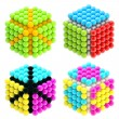 set of four colorful abstract cubes isolated — Stock Photo