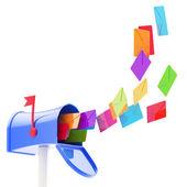 Maibox y multitud de color cartas volando hacia — Foto de Stock