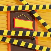 House enclosed with a barrier tapes — Stock Photo