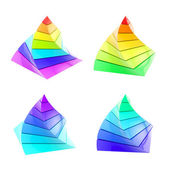 Set of four colorful segmented pyramid isolated — Stock Photo