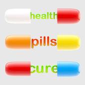 保健和治疗药里面的字母。 — 图库照片