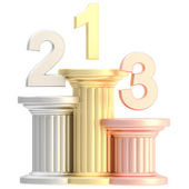 Winner pedestal: golden, bronze, silver pillars — Foto de Stock