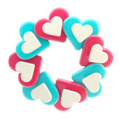 Abstract circle frame made of hearts isolated — Stock Photo