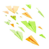 Glossy orange and green paper airplanes isolated — Stock Photo