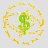 Dollar sign encircled with golden chains isolated — Stock Photo