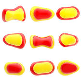 9 光沢のある赤と黄色のボタンを分離 — ストック写真