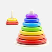 Pyramid made of plastic rings, isolated — Stock Photo