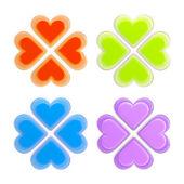 一連の分離した 4 つの幸運と愛のシンボル — ストック写真