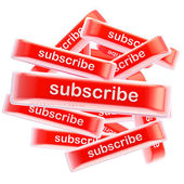 Pile of glossy bright subscribe buttons isolated — Stock Photo