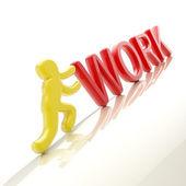 "Human figure pushing the word ""work"" uphill — Stock Photo"