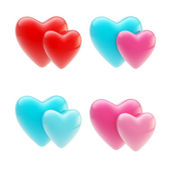Set of glossy heart icons isolated on white — Stock Photo