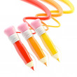 Three pencils with colorful trace path — Stock Photo