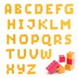 Alphabet set made of toy blocks isolated - Stock Photo
