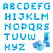 Alphabet set made of toy blocks isolated — 图库照片
