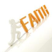 "Human figure pushing the word ""faith"" uphill — Stock Photo"