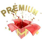 """Parola """"premium"""" all'interno di una scatola regalo — Foto Stock"""