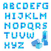 Alphabet set made of toy blocks isolated — Stock Photo