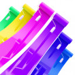 Colorful glossy paint rollers with color strokes — Stock Photo #9950886