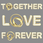 """Love"", ""together"", ""forever"" words isolated — Stock Photo"