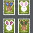 Collection of easter stamps with bunnies — Stock Vector