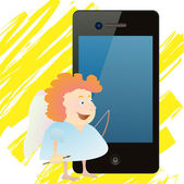 Red-haired funny angel near smartphone — Stock Vector