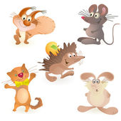 Set of five funny animals - mouse, rabbit, hedgehog, cat and squirrel — Stock vektor