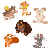 Six funny animals - mouse, rabbit, bear, hedgehog, cat and squirrel — Stock Vector